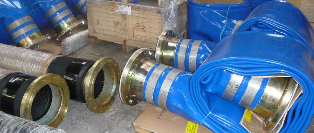 12 inch layflat hose double band swaged with ASA150 flanges