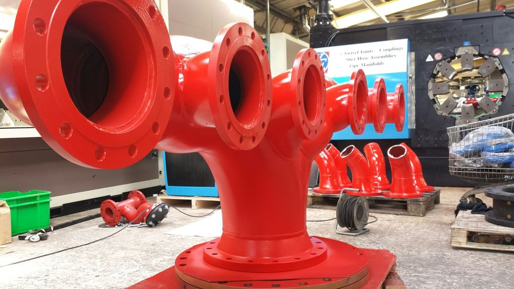 16 inch swivel fire fighting manifold with 6 inch outlets flange swager pipework